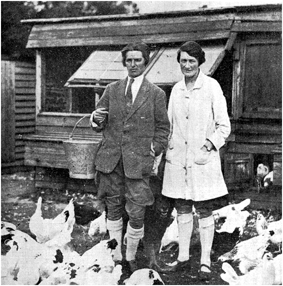 Foster (left) with her partner Blanch Badock on their poultry farm in Surrey.