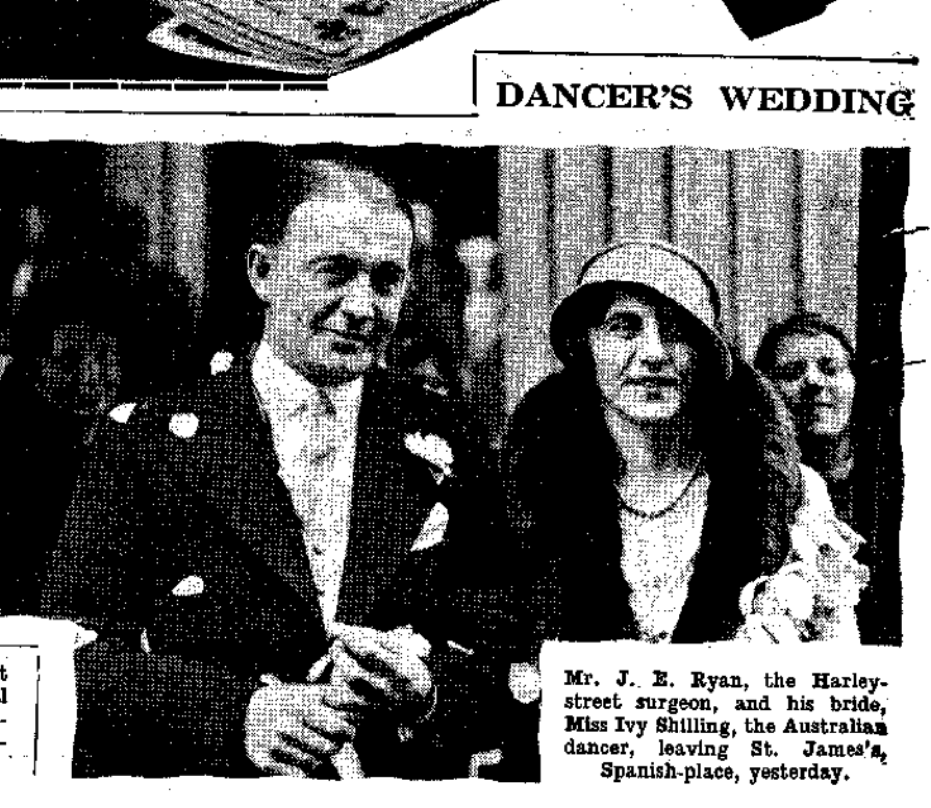 Ivy and her husband, John, on their wedding day as they left St James's church, 1932.
