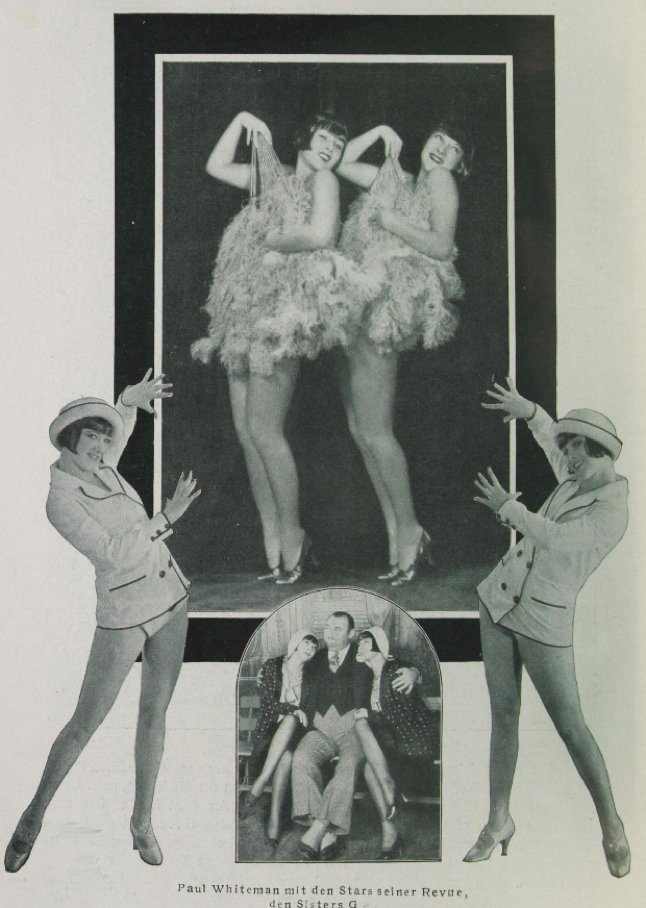 A page from 'Das Magazin', May 1930 showing the Sisters G in the 'King of Jazz Revue'