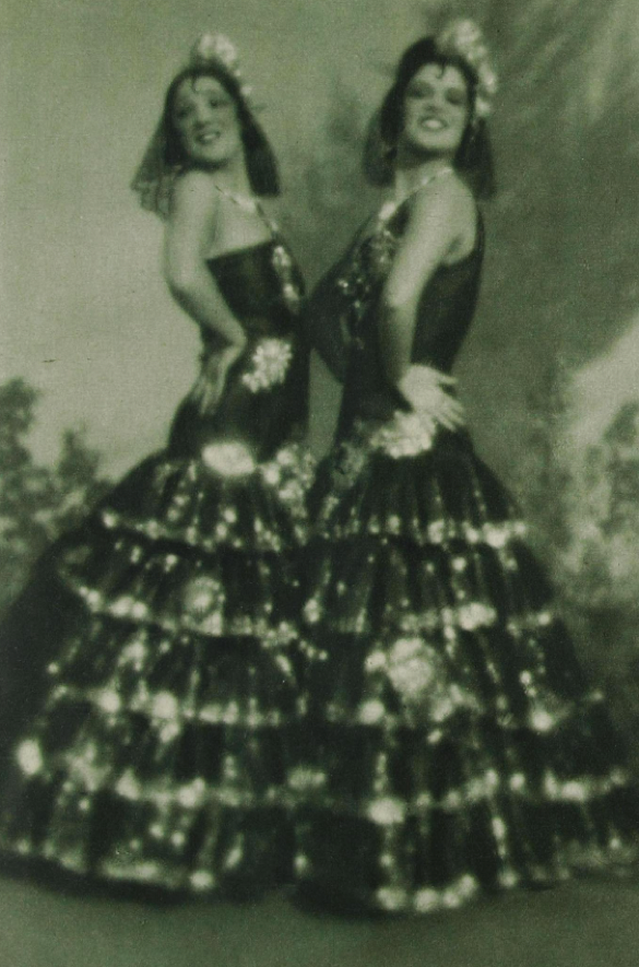 The sisters showing off their Spanish dancing, c. 1930